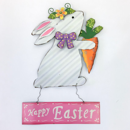 Metal Happy Easter Bunny Sign