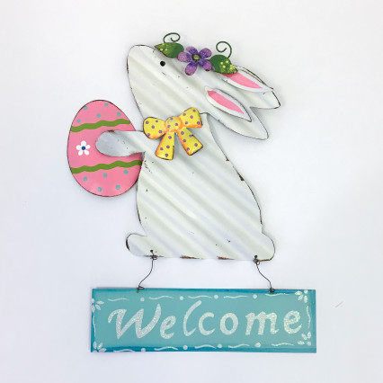 Metal Welcome Bunny Sign