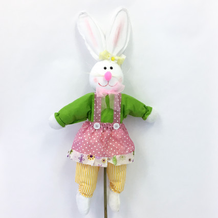 Bunny on Stake - Green & Pink