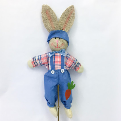 Burlap Bunny on Stake - Blue & Pink