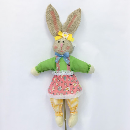 Burlap Bunny on Stake - Green & Pink
