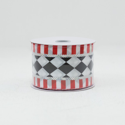 Harlequin Ribbon with Striped Border- #40