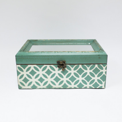 Jade and White Mirrored Lid Box - Large
