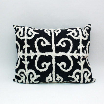 Embroidered Pillow - Black & Cream