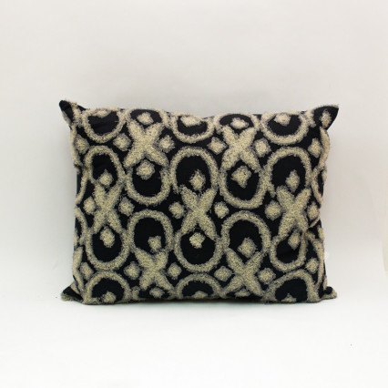 Embroidered Pillow - Black & Grey