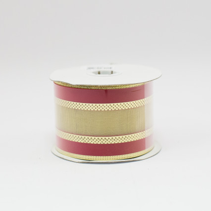 Red Velvet & Gold Foil Striped Ribbon - #40