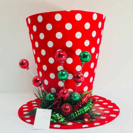 "JWM Collection 17404 Red Polkadot 13"" Tree Topper Hat"