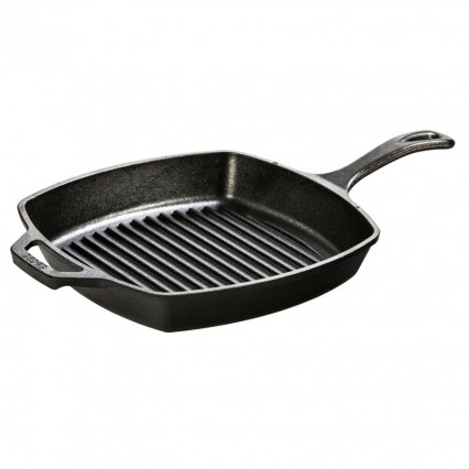 Lodge L8SGP3 10.5 Inch Square Cast Iron Grill Pan