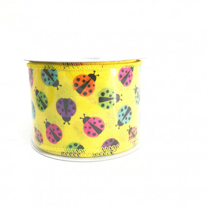 "2.5"" x 10Y Yellow Ladybug Pattern Ribbon"