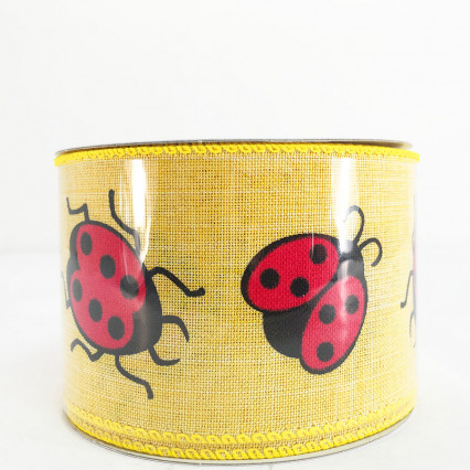 "Jascotina 2.5"" x 10Y Yellow Ribbon with Ladybugs"