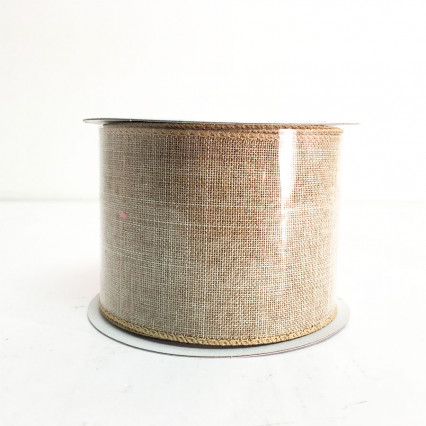 "2.5"" x 10Y Light Natural Canvas Ribbon"