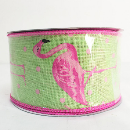 2.5 x 10Y Lime Flamingo Ribbon