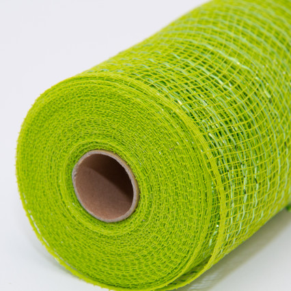 10 in. Metallic Lime Deco Mesh Ribbon