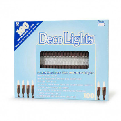 DecoLights 100 Super Bright Clear Lights Brown
