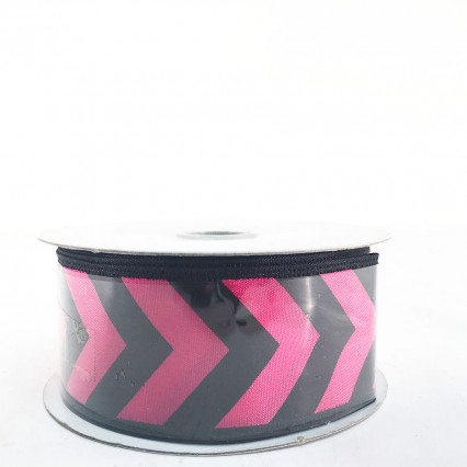 "Jascotina 1.5"" x 10Y Black and Magenta Pattern Ribbon"