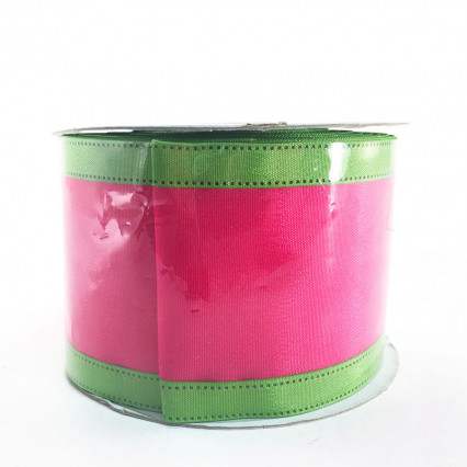 "Jascotina 2.5"" x 10Y Magenta and Lime Ribbon"