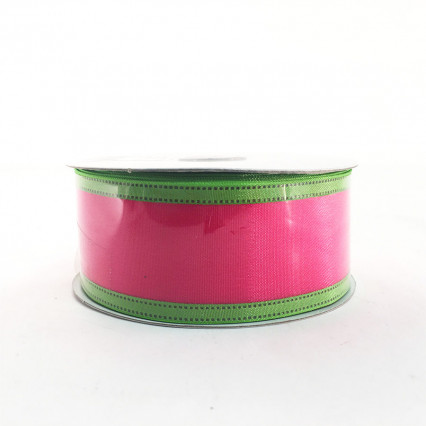 "Jascotina 1.5"" x 10Y Magenta and Lime Ribbon"