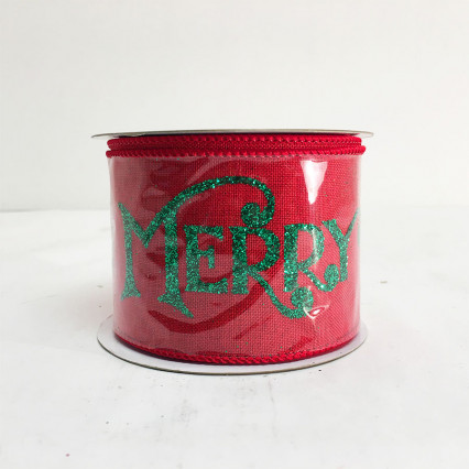 2.5 x 10 Yd Merry Christmas Glitter Linen Red Ribbon