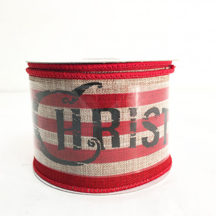 "2.5"" x 10Y Merry Christmas Striped Linen Ribbon"