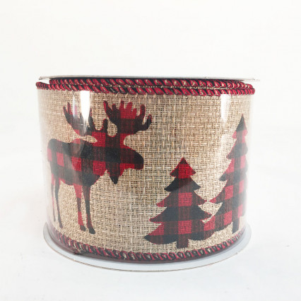 "2.5"" x 10Y Moose and Christmas Tree Pattern Ribbon"