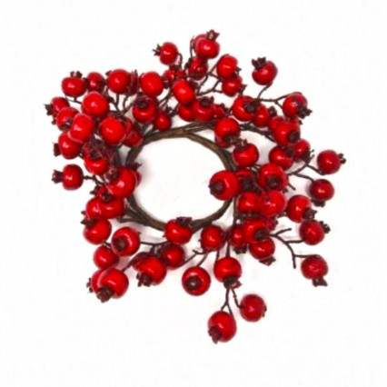 Crabapple Berry Candle Ring Red 11""
