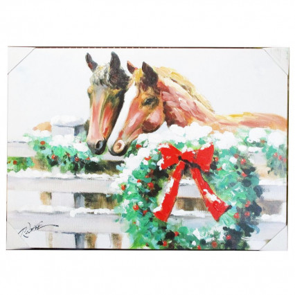 Christmas Horses Wreath Farm Oil Canvas Painting