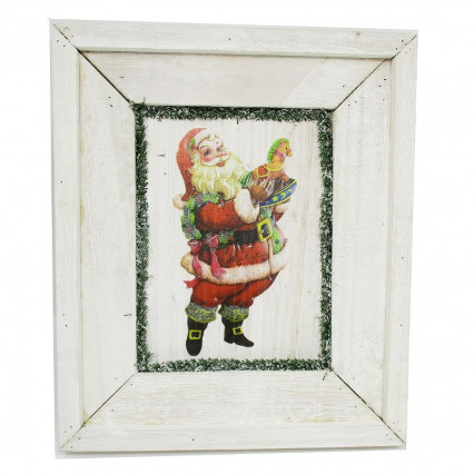 Santa Claus Christmas Whitewash Toy Horse Wooden Sign