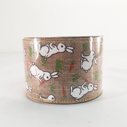 Jascotina 2.5 x 10 YD Natural Ribbon with Bunnies and Carrots