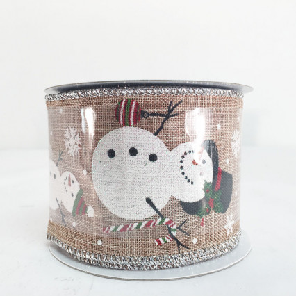 "2.5"" x 10Y Decorative Snowman Christmas Natural Ribbon"