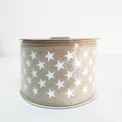"2.5"" x 10YD Natural and White Linen Mini Stars"