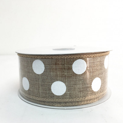 "1.5"" x 10Y Natural and White Polkadots"