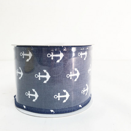 "2.5"" x 10Y Navy and White Anchor Ribbon"