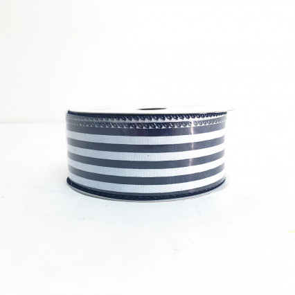 "1.5"" x 10Y Navy and White Striped Ribbon"