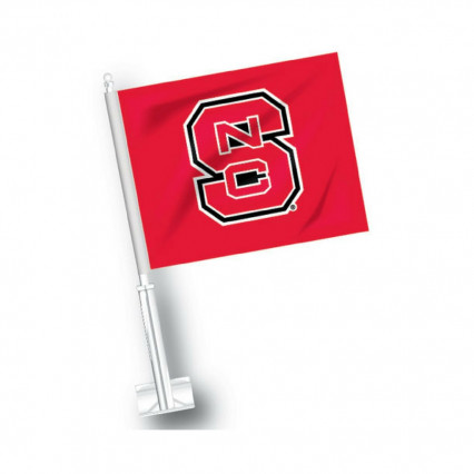 JayMac Sports 581004 North Carolina State Wolfpack Car Flag - Red w/ S