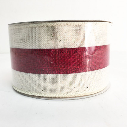 "2.5"" x 10Y Off White and Red Striped Ribbon"