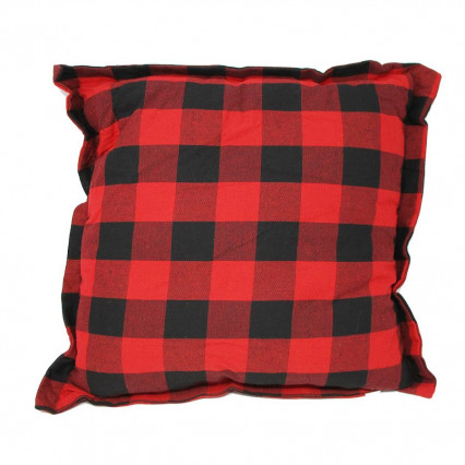 Red Black Buffalo Plaid Accent Throw Pillow