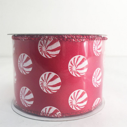 "2.5"" x 10Y Peppermint Pattern Ribbon"
