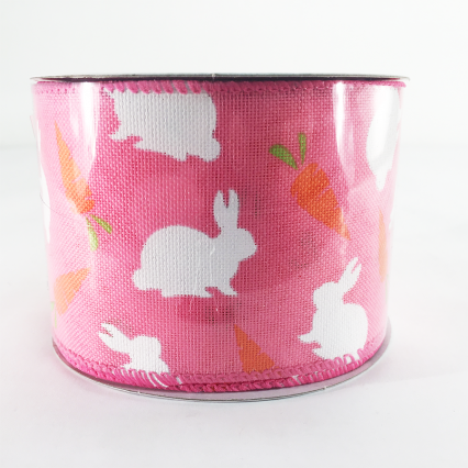 Jascotina 2.5 x 10 YD Pink Ribbon with Bunnies and Carrots
