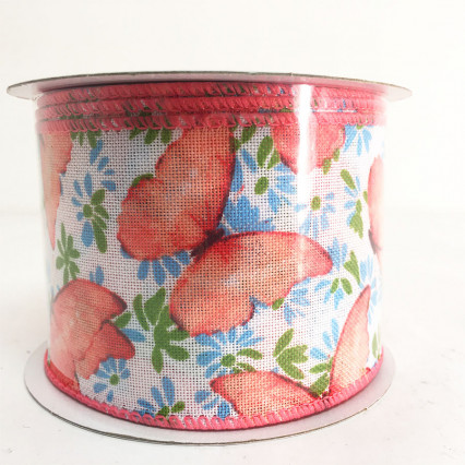 "2.5"" x 10YD Pink Butterfly Ribbon"