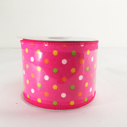 Jascotina 2.5 x 10yds Pink Ribbon with Colorful Polka Dots