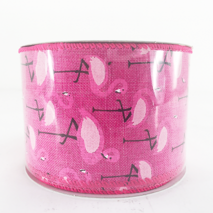 Jascotina Pink Ribbon with Flamingos