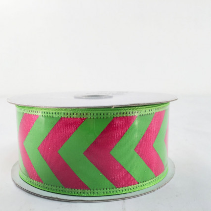 "Jascotina 1.5"" x 10Y Green and Magenta Pattern Ribbon"