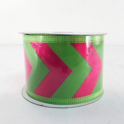 "Jascotina 2.5"" x 10Y Green and Magenta Pattern Ribbon"