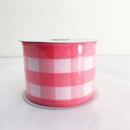 "2.5"" x 10Y Pink and White Chex Ribbon"