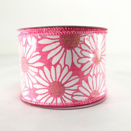 Direct Export Pink Linen Ribbon w/ Daisies