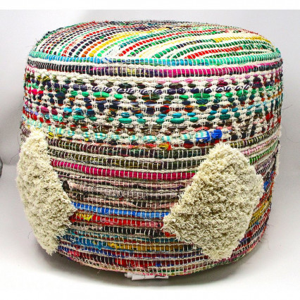 Boho Multicolor Indoor Pouf