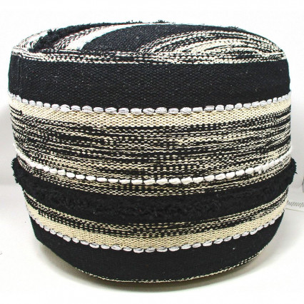 Boho Black and Natural Indoor Pouf