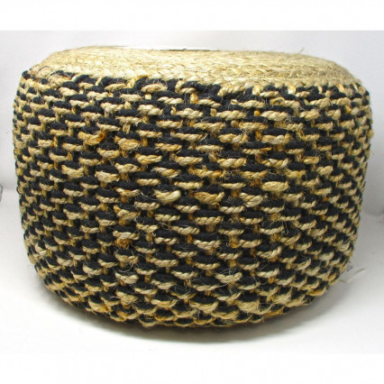 Black and Natural Jute Indoor Pouf