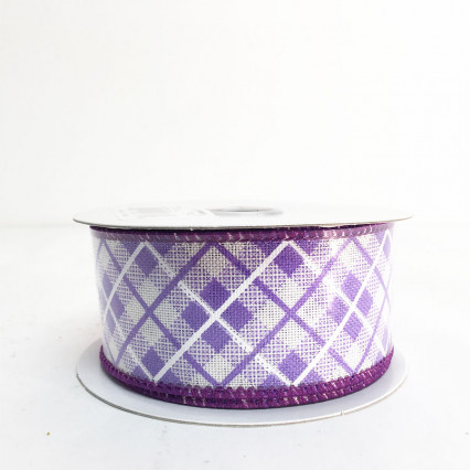 "1.5"" x 10Y Purple Argyle Ribbon"