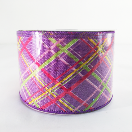 Jascotina 2.5 x 10yds Purple with Decorative Lines Ribbon